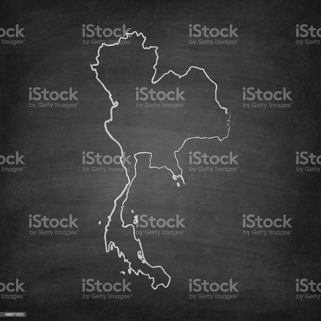 Thailand Map on Blackboard - Chalkboard vector art illustration
