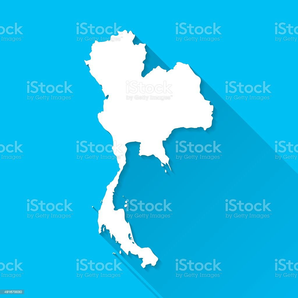 Thailand Map on Blue Background, Long Shadow, Flat Design vector art illustration