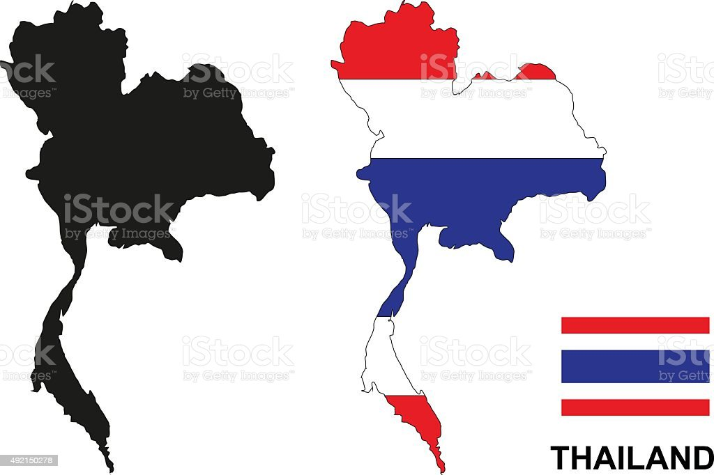 Thailand map vector, Thailand flag vector, isolated Thailand vector art illustration