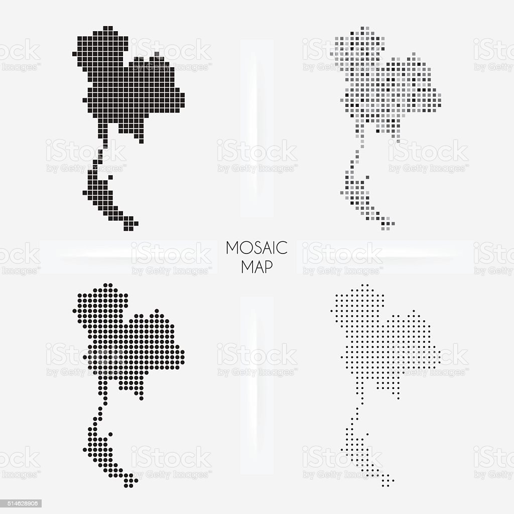 Thailand maps - Mosaic squarred and dotted vector art illustration