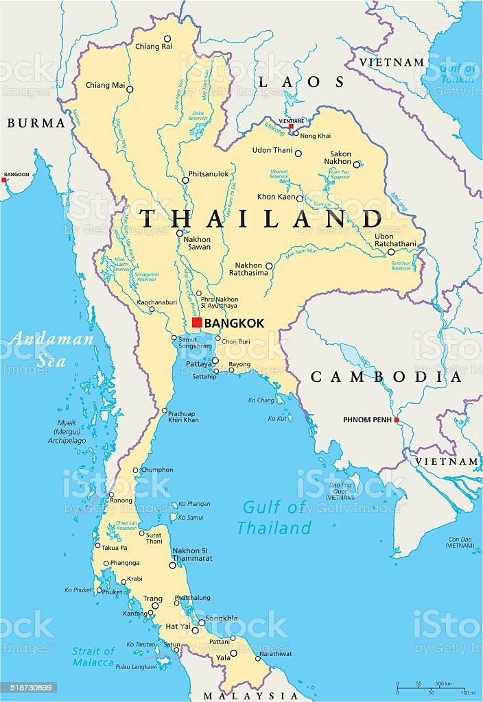 Thailand Political Map vector art illustration