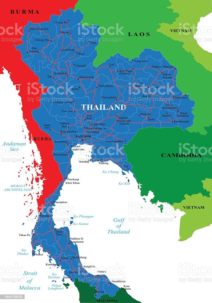 Thailand province divisions on a topographic map vector art illustration