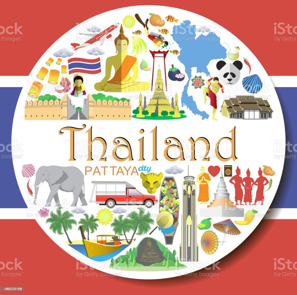 Thailand round background. Thai flat vector icons and symbols vector art illustration