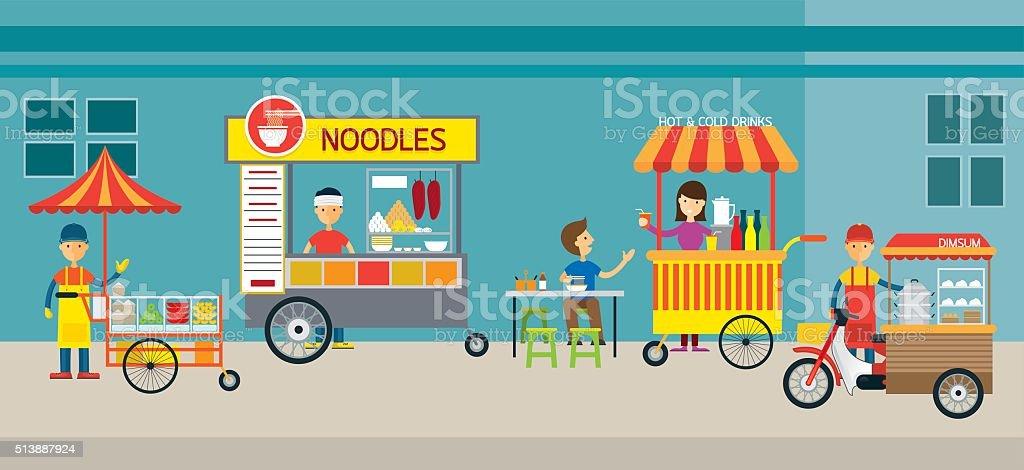 Thailand Street Food vector art illustration