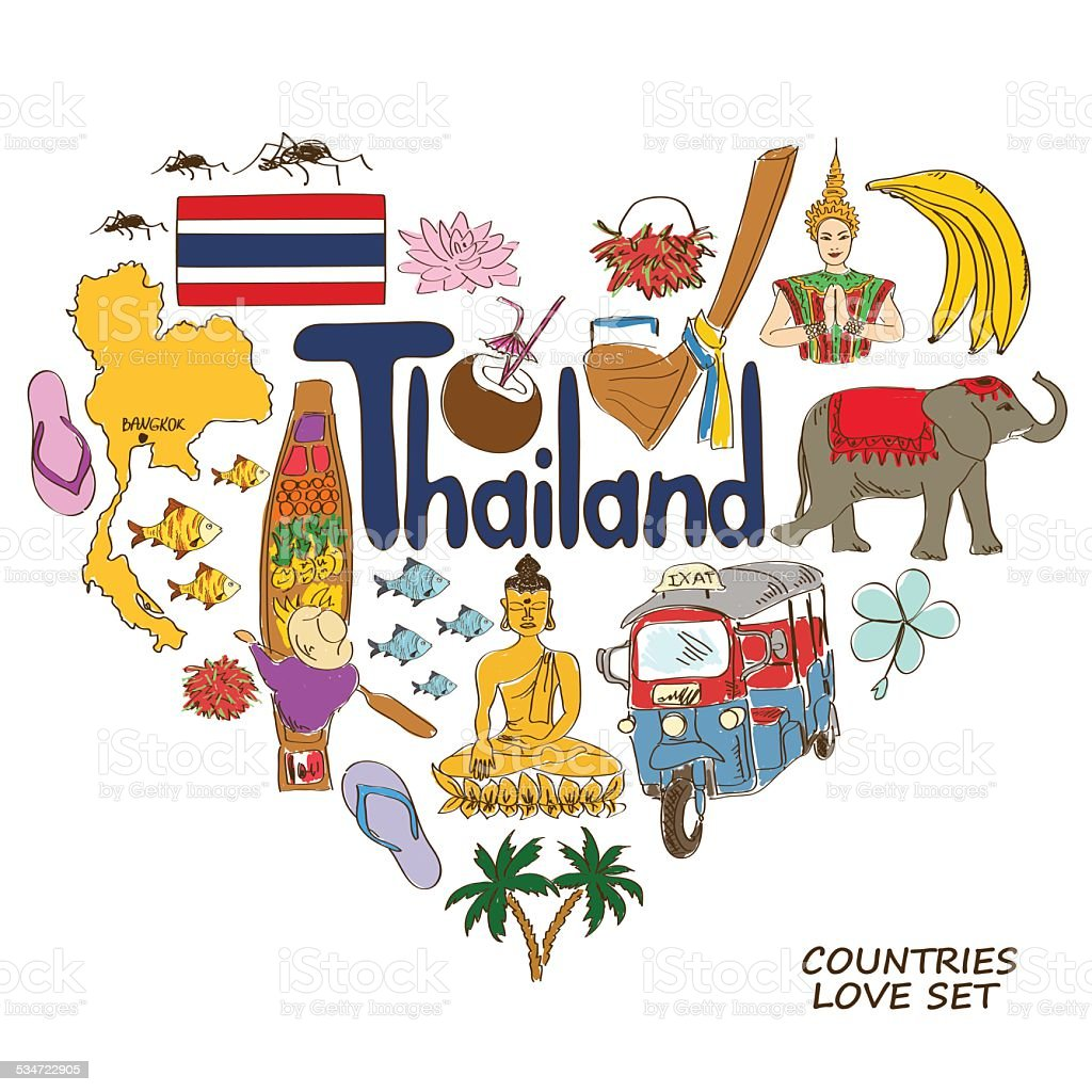 Thailand symbols in heart shape concept vector art illustration
