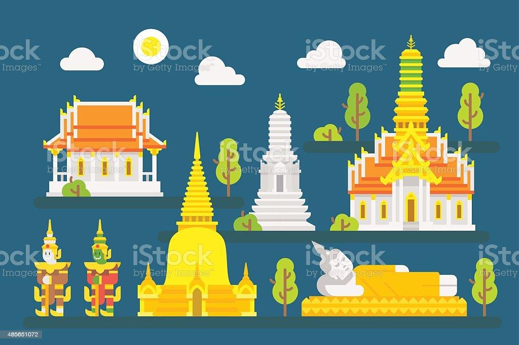 Thailand temple infographic elements set vector art illustration