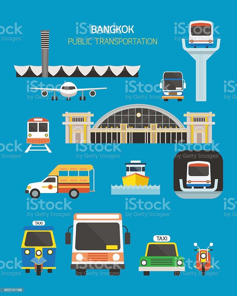 Thailand Transportation Objects Set vector art illustration