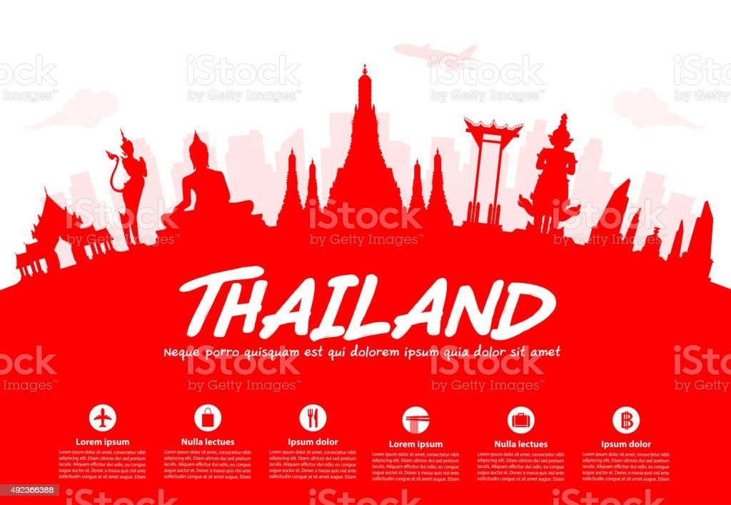 Thailand Travel Landmarks. vector art illustration