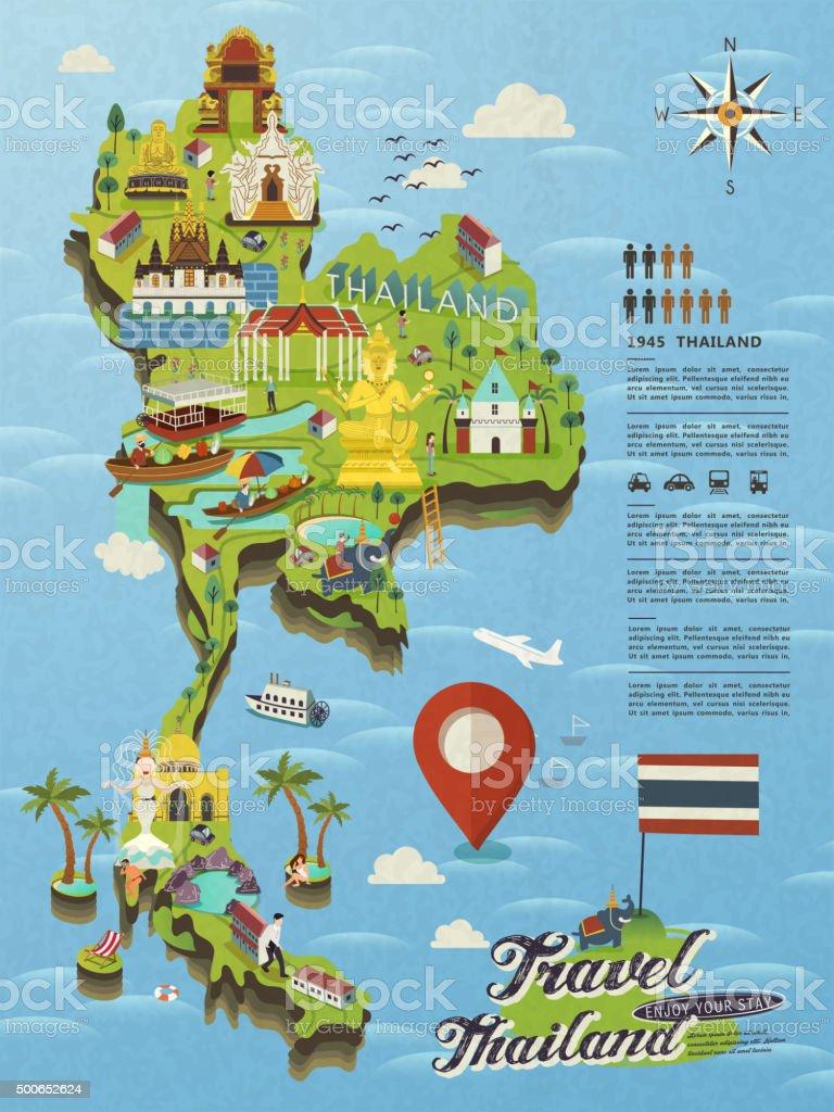 Thailand travel map vector art illustration