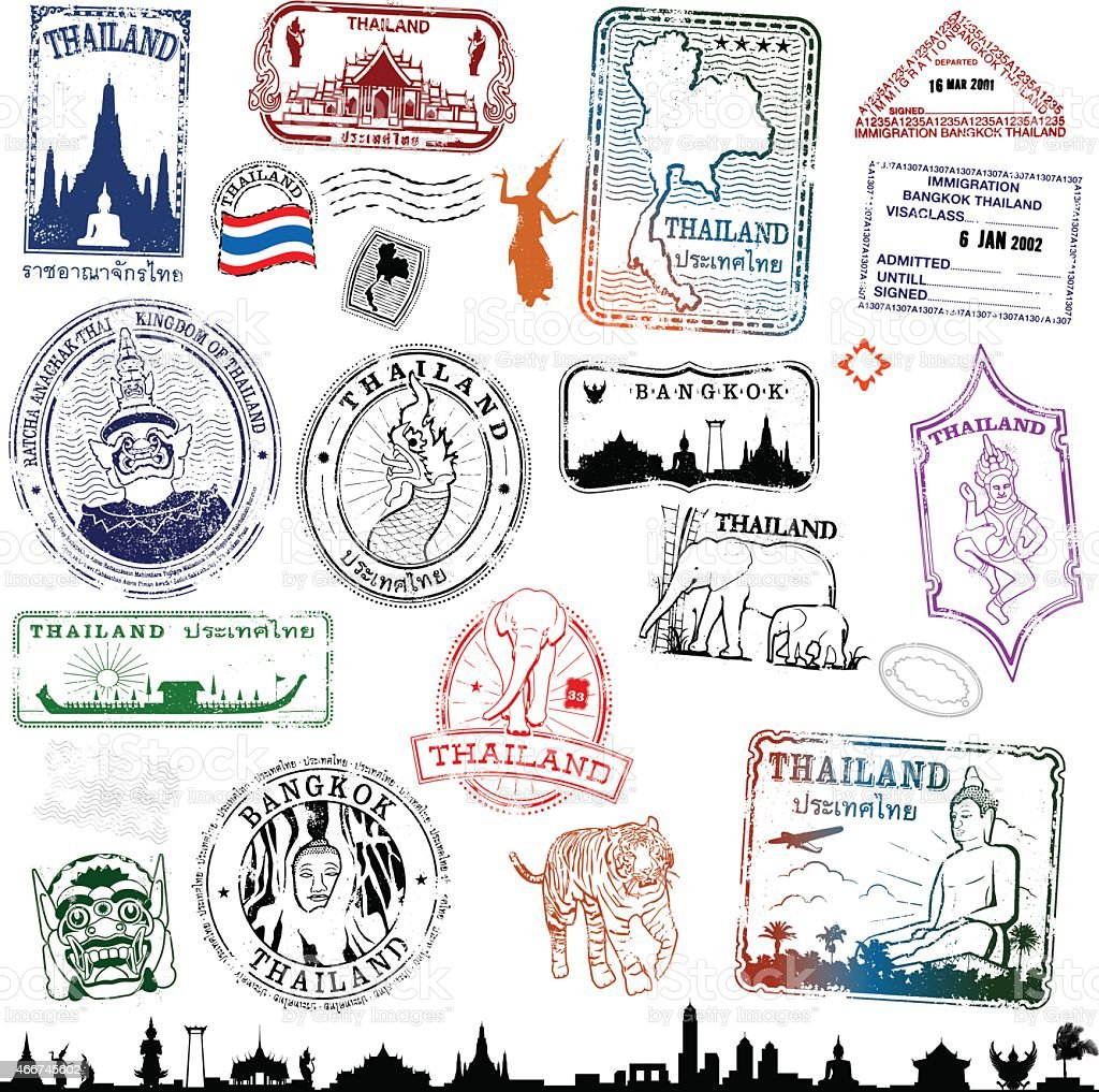 Thailand Travel Stamps vector art illustration