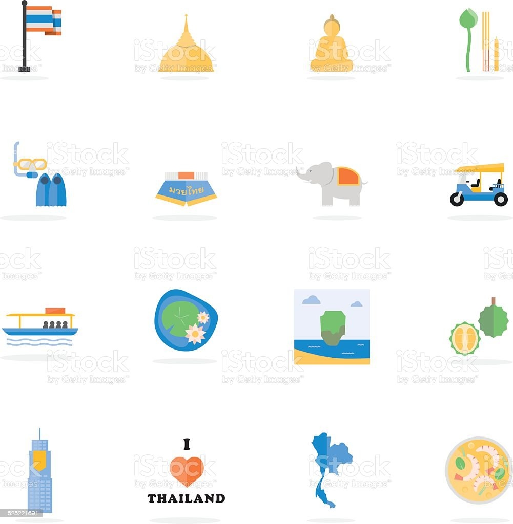 Thailand travel vector art illustration