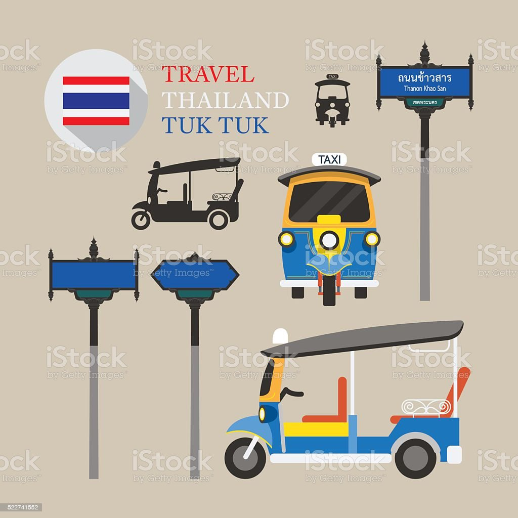 Thailand Tuk Tuk and Side-Street Sign Set vector art illustration