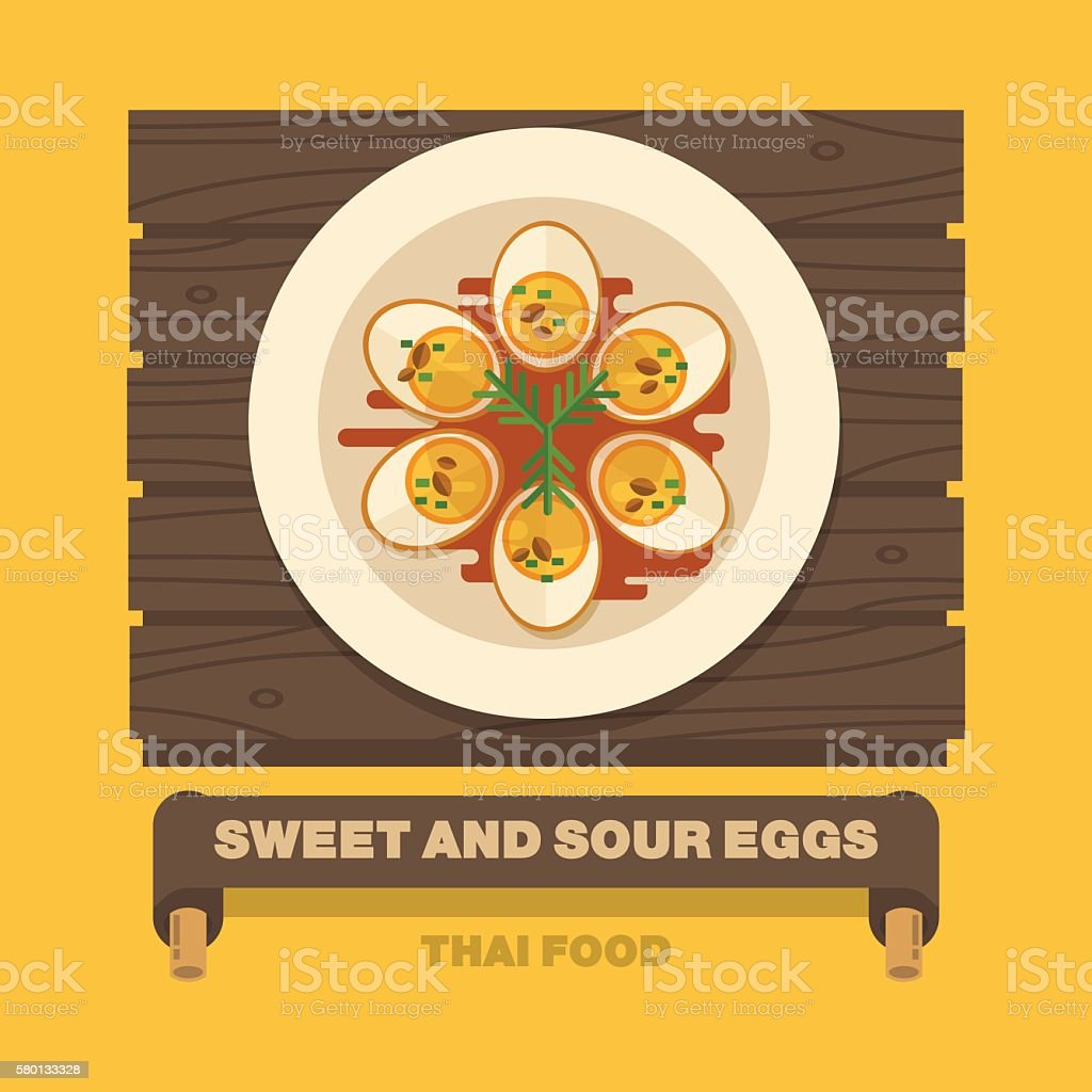 Thailand's national dishes,Sweet And Sour Eggs - Vector flat vector art illustration