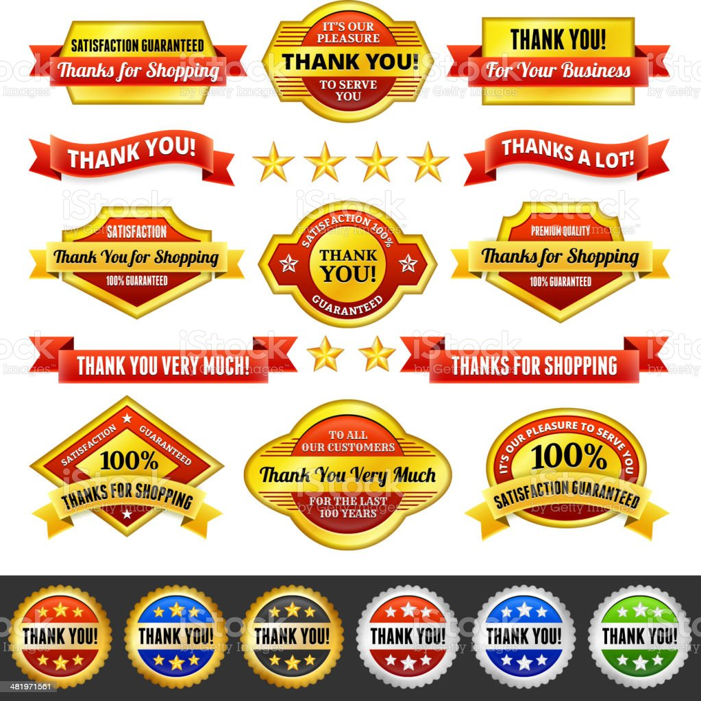 Thank You Badges Red and Gold Set royalty-free stock vector art