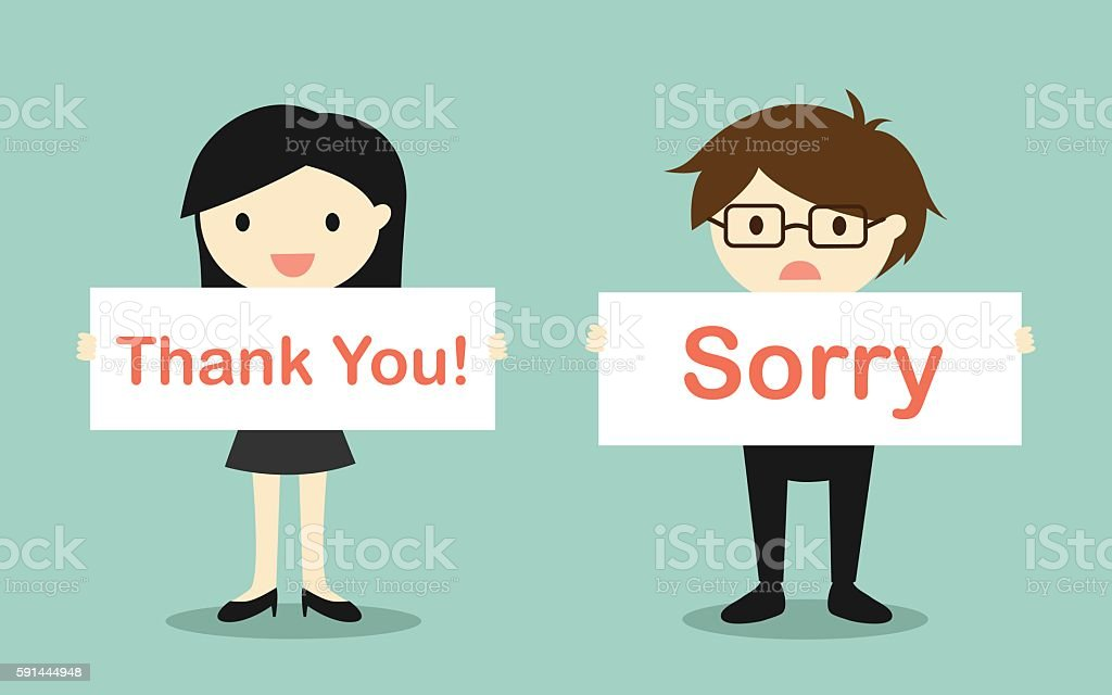 'Thank you!' banner and 'Sorry' banner. vector art illustration