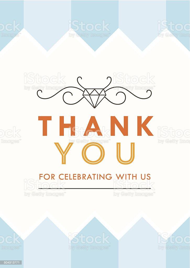 Thank You Card Blue Theme royalty-free stock vector art