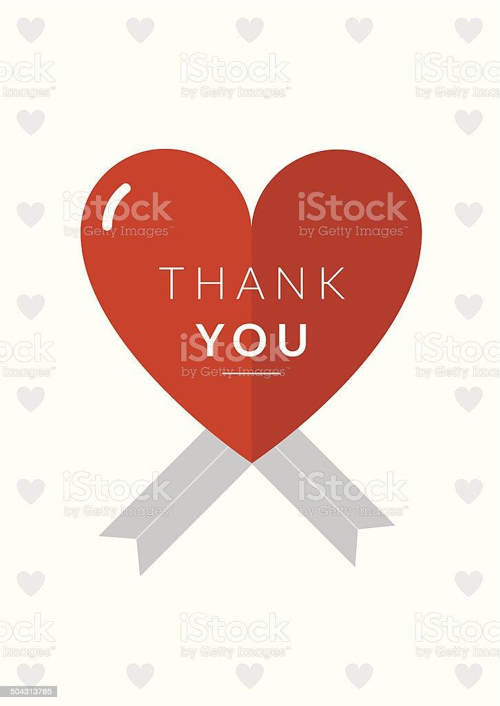 Thank You Card Heart Theme royalty-free stock vector art