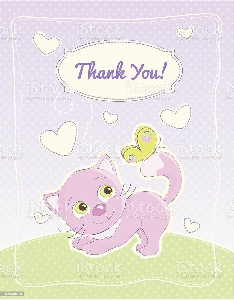 Thank you card in for a girl royalty-free stock vector art