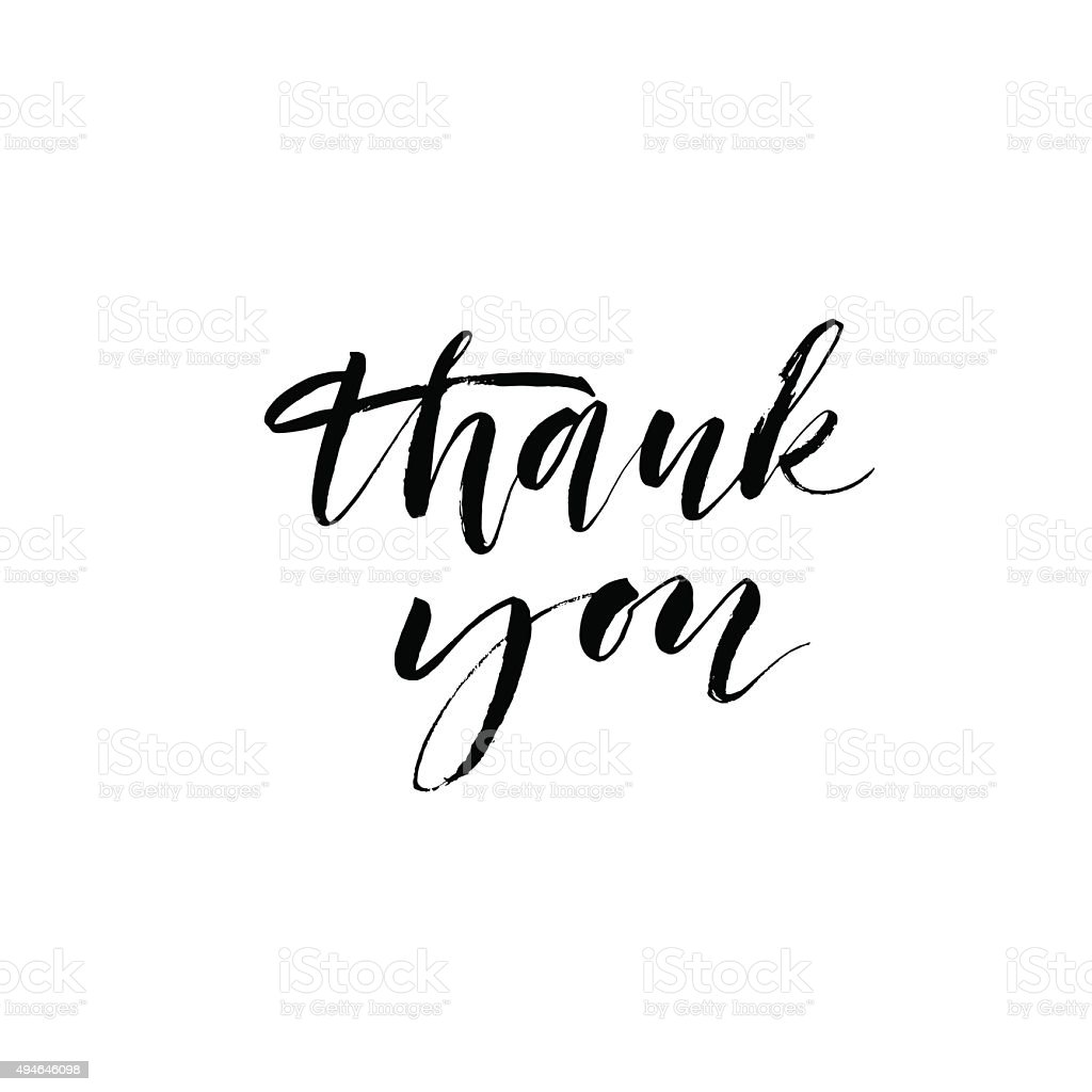 Thank you card. Modern calligraphy. vector art illustration
