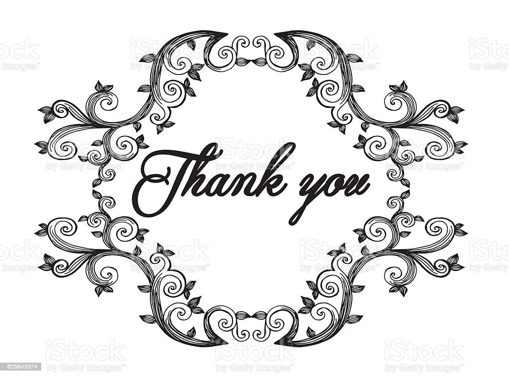Thank you card, thanks. Vector isolated hand drawn vector art illustration