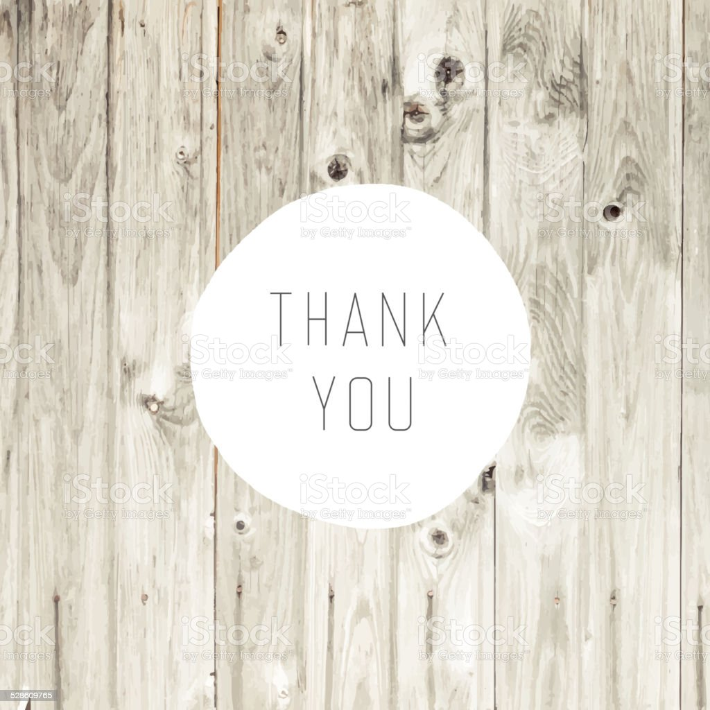 Thank You Card with Blond Wooden Background vector art illustration