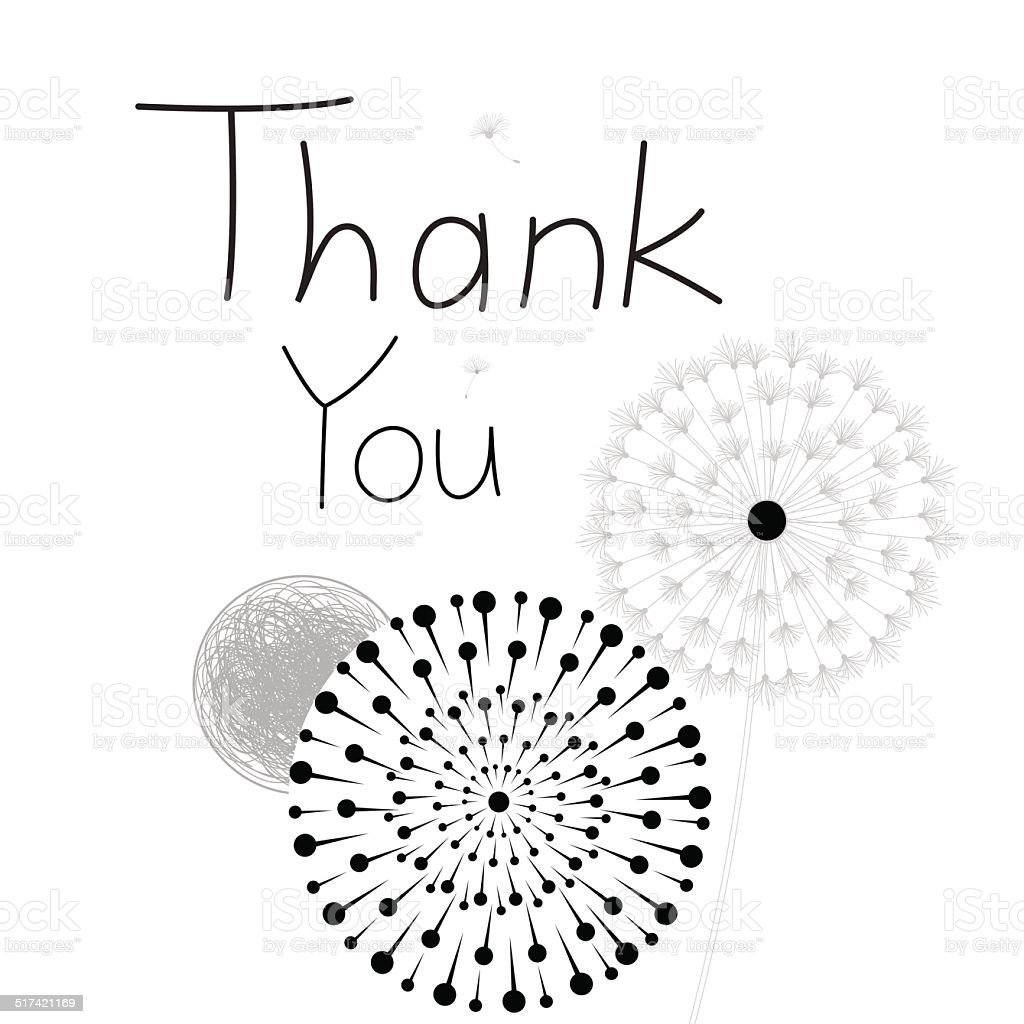 Thank you card, with font vector art illustration
