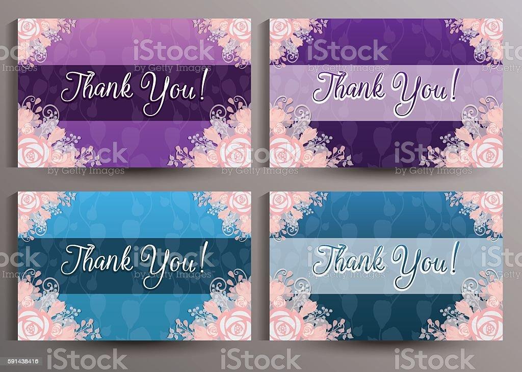 Thank You cards set vector art illustration