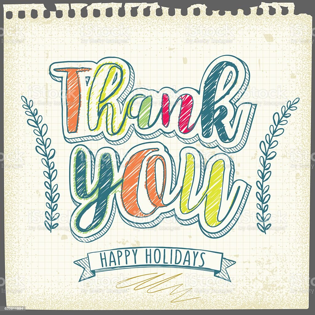 Thank you - doodle vector art illustration