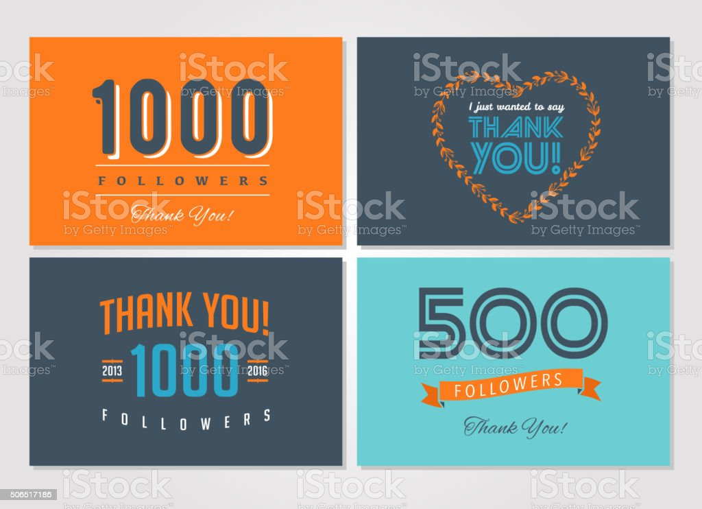 Thank you followers, badges, stickers and labels vector art illustration