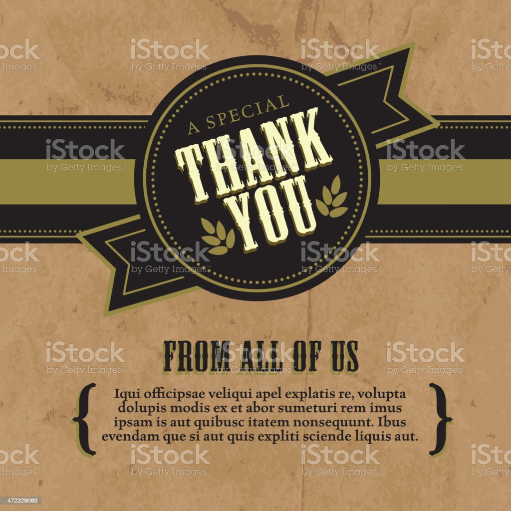 Thank you greeting card design layout rustic craft paper background vector art illustration