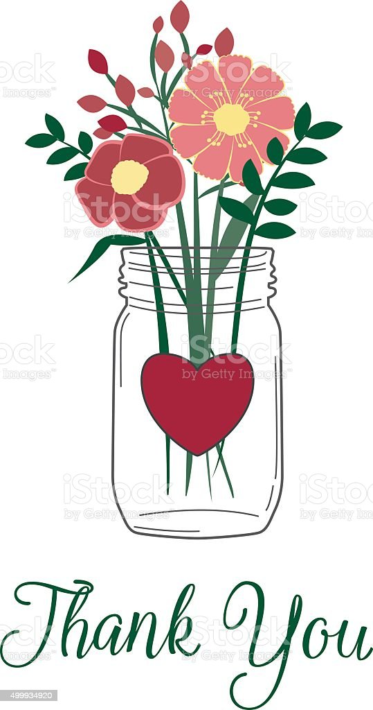 Thank you greeting with wild flowers in a mason jar vector art illustration