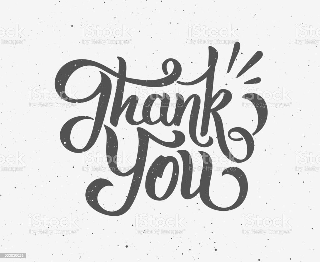 Thank You hand drawn lettering vector art illustration