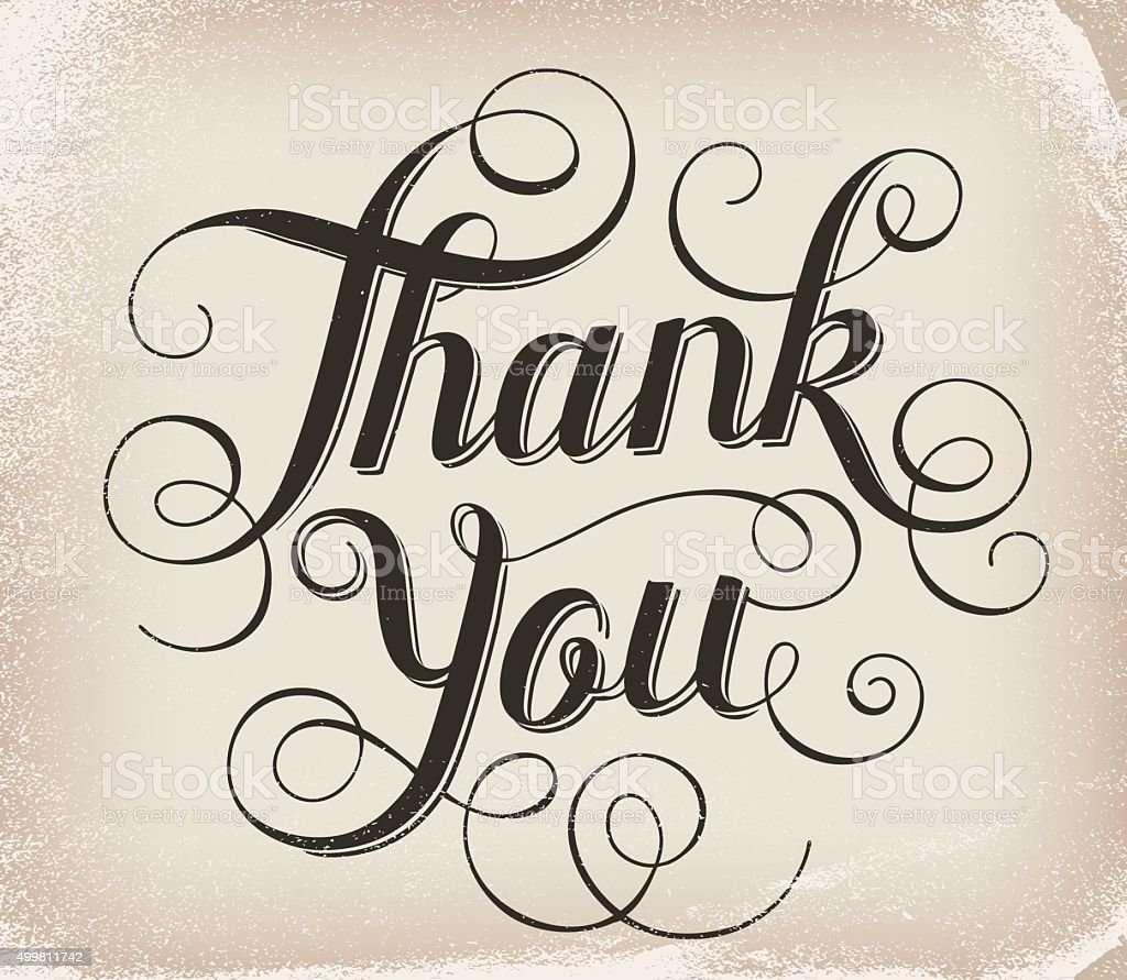 Thank you. Hand lettering. Calligraphy vector art illustration