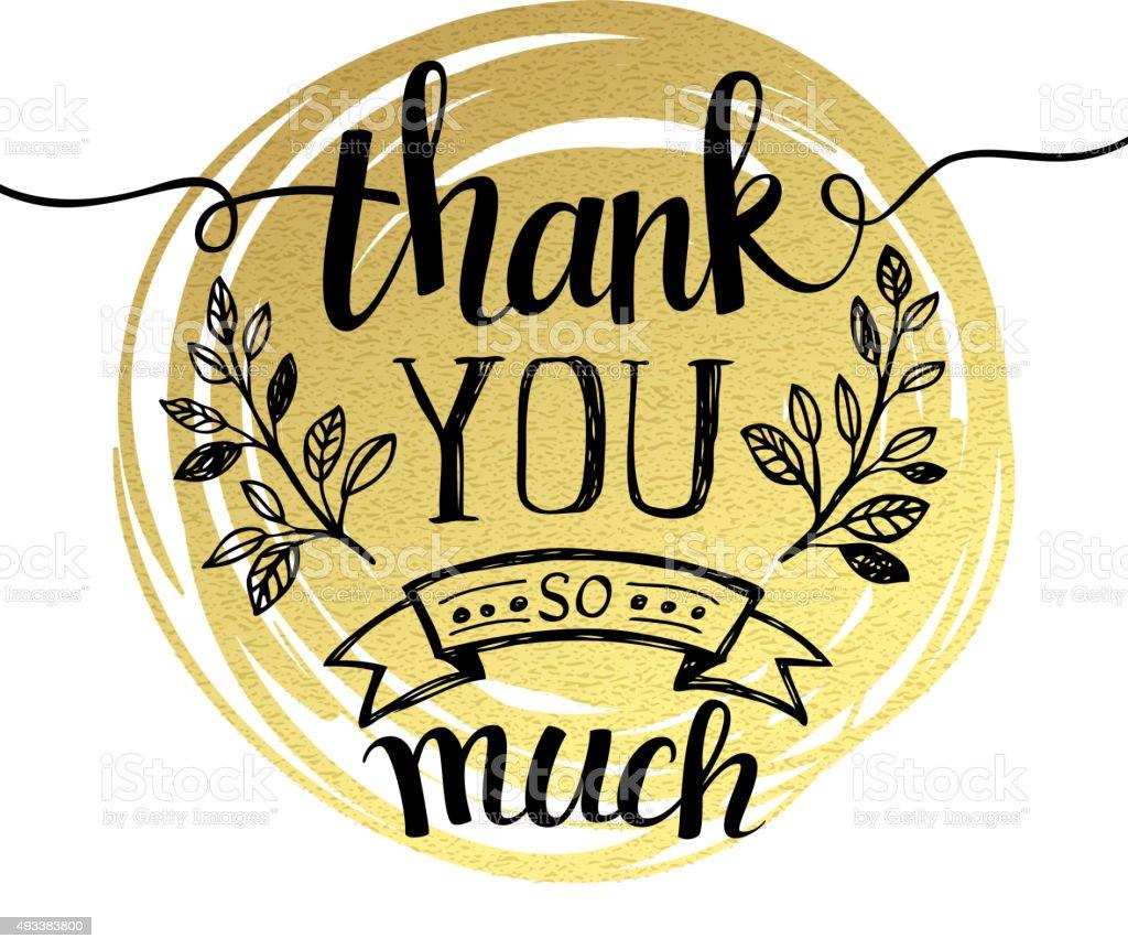 Thank you hand lettering on splash golden textured background vector art illustration