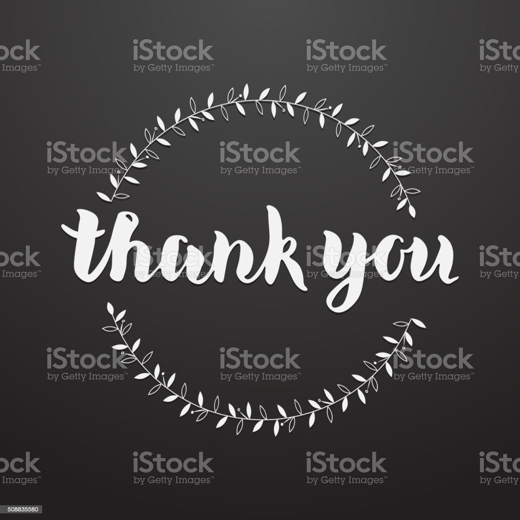 Thank You hand written lettering greeting card vector art illustration
