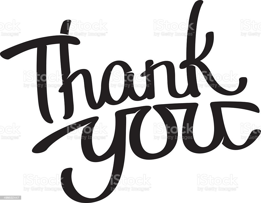 Thank you - hand written lettering royalty-free stock vector art