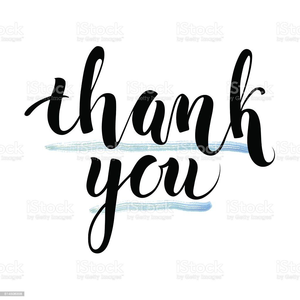 Thank you ink handmade lettering design element vector