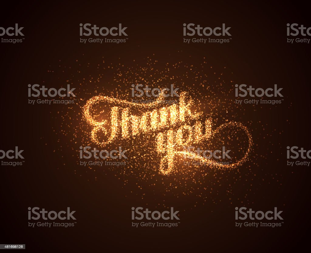Thank You label with glowing golden sparkles vector art illustration