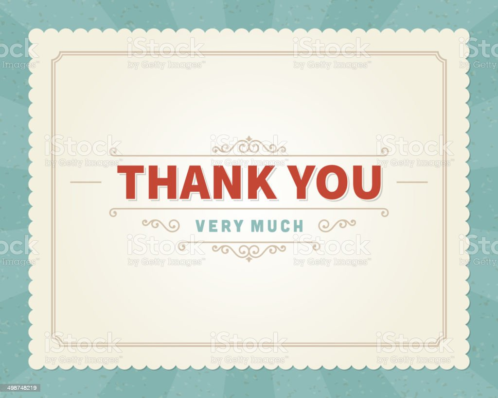 Thank you message card retro lettering typography vector art illustration