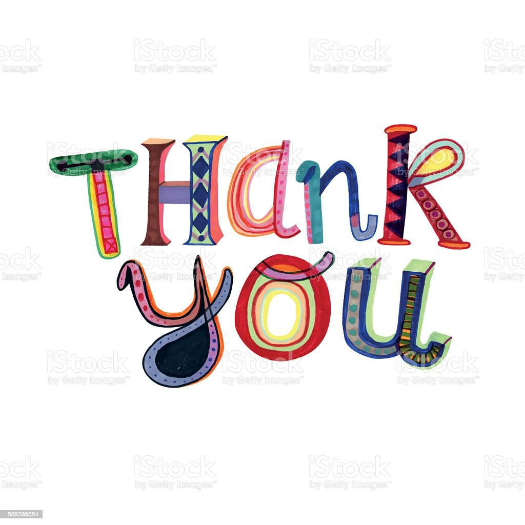 Thank you message vector art illustration