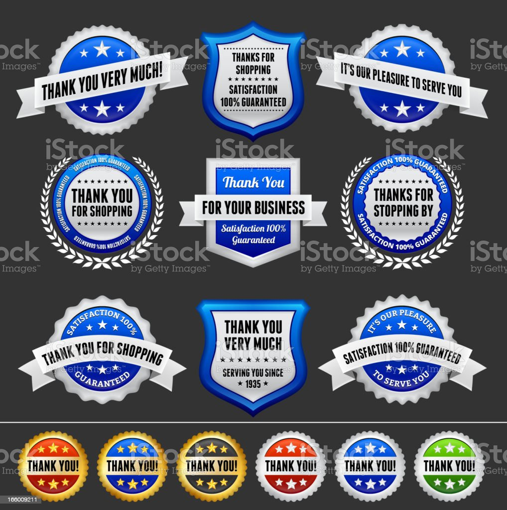 Thank You Note Badges Collection royalty-free stock vector art