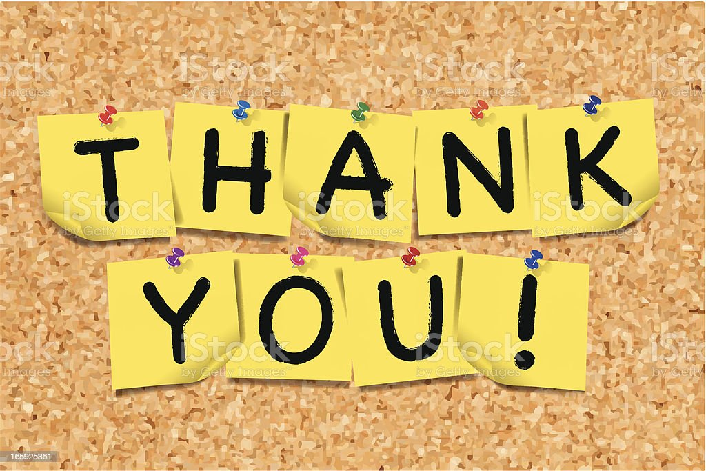 Thank You Notes on Cork Board vector art illustration