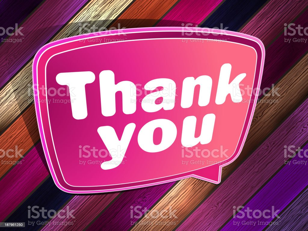 Thank you poster on a wooden. EPS 10 royalty-free stock vector art