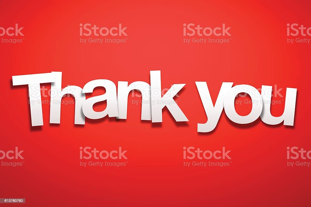 Thank You Sign with Red Background - Paper Font vector art illustration