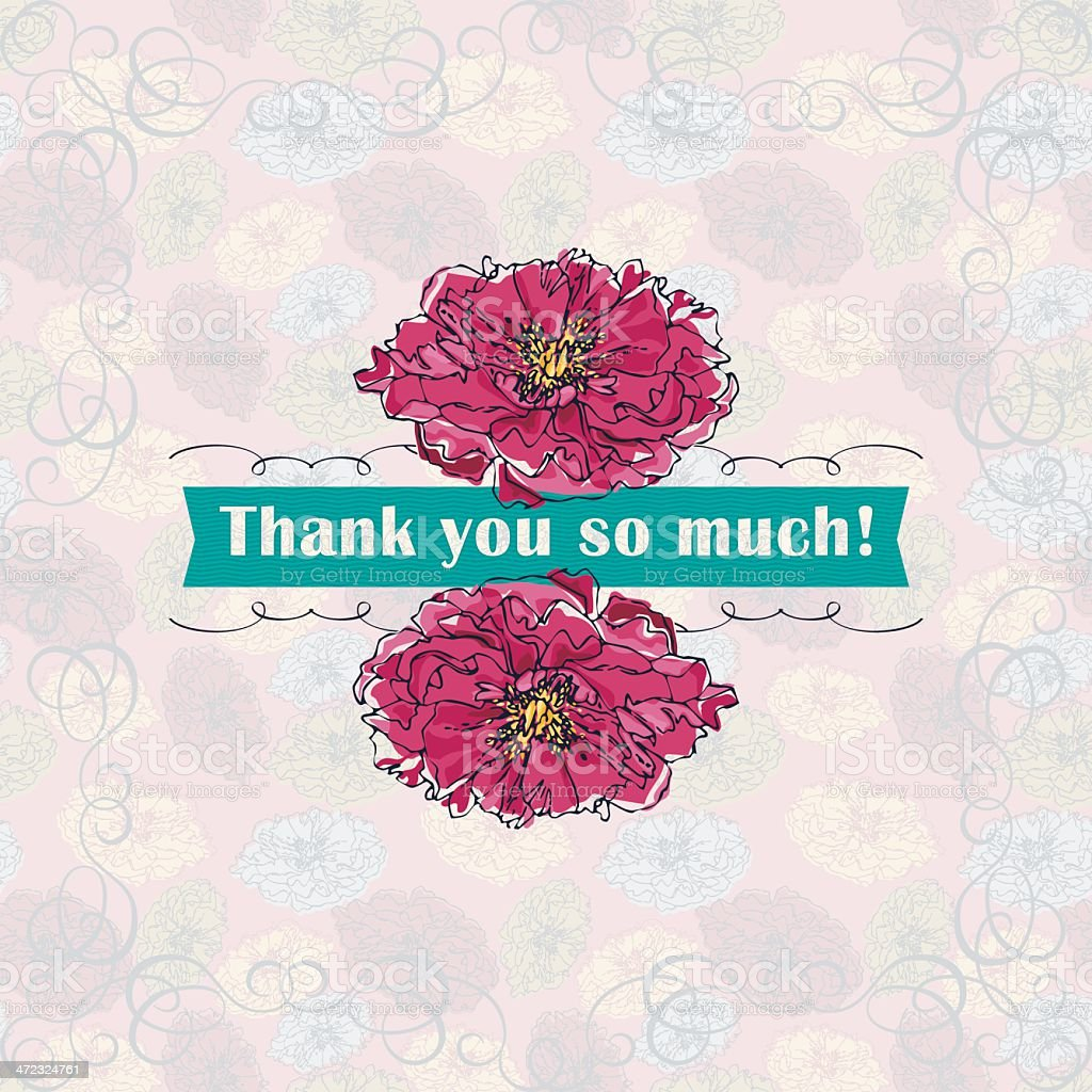 Thank You So Much! (Greeting Card) royalty-free stock vector art