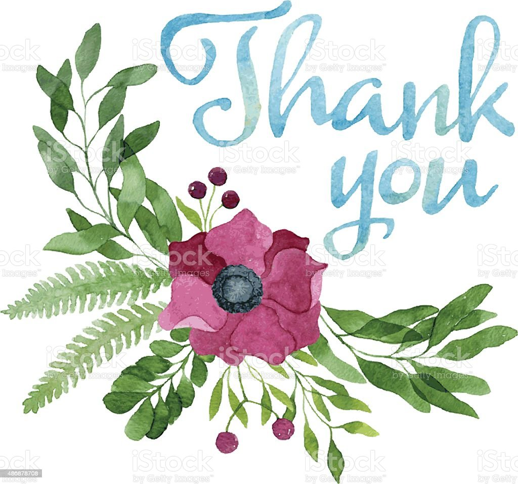 Thank you tag in watercolor floral wreath, burgundy anemone flower vector art illustration