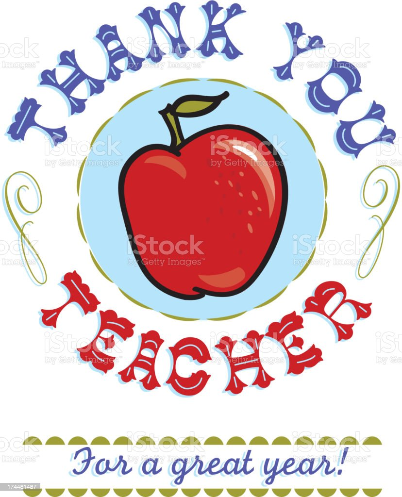 Thank you Teacher text design with red apple royalty-free stock vector art