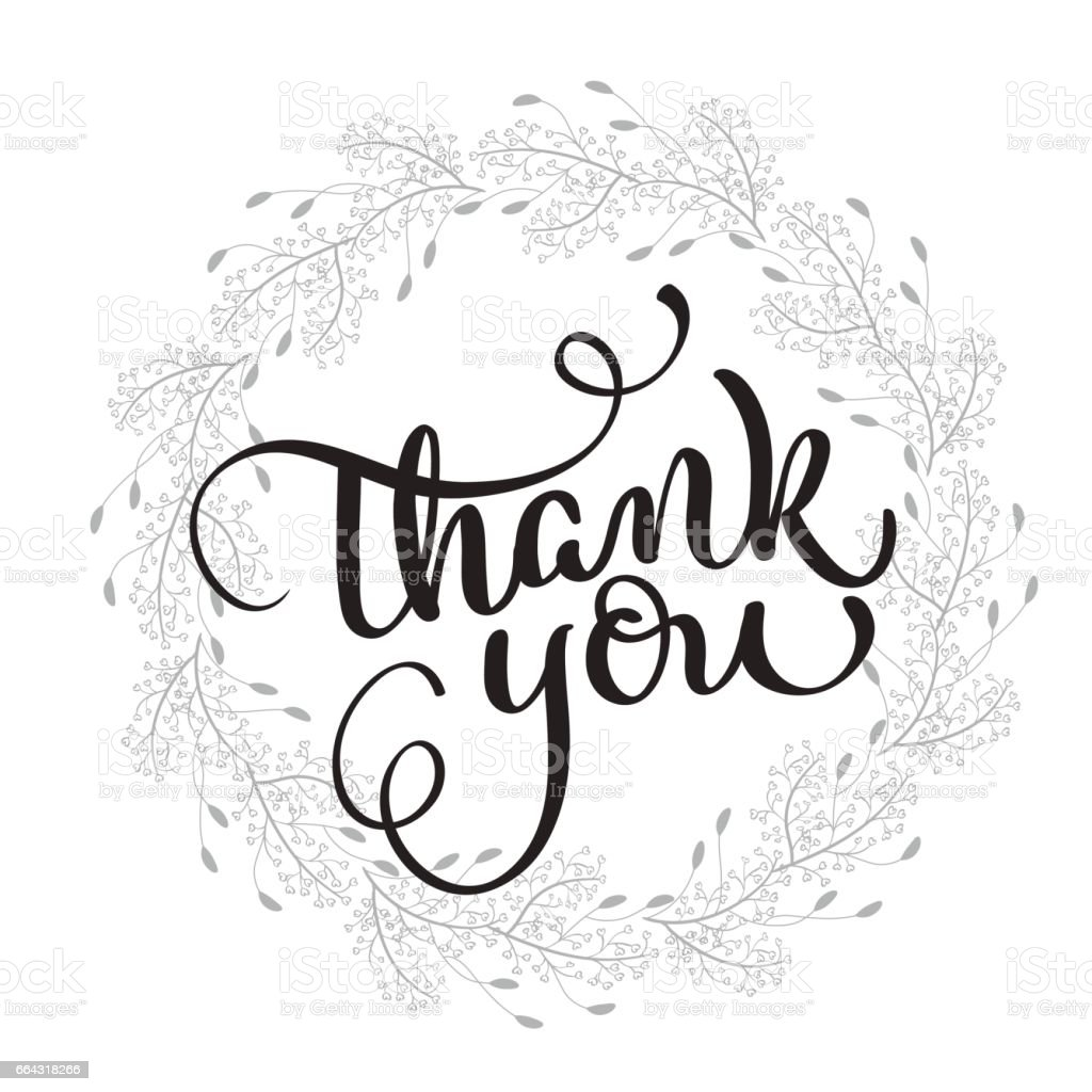 Thank you text with round frame on background. Calligraphy lettering Vector illustration EPS10 vector art illustration