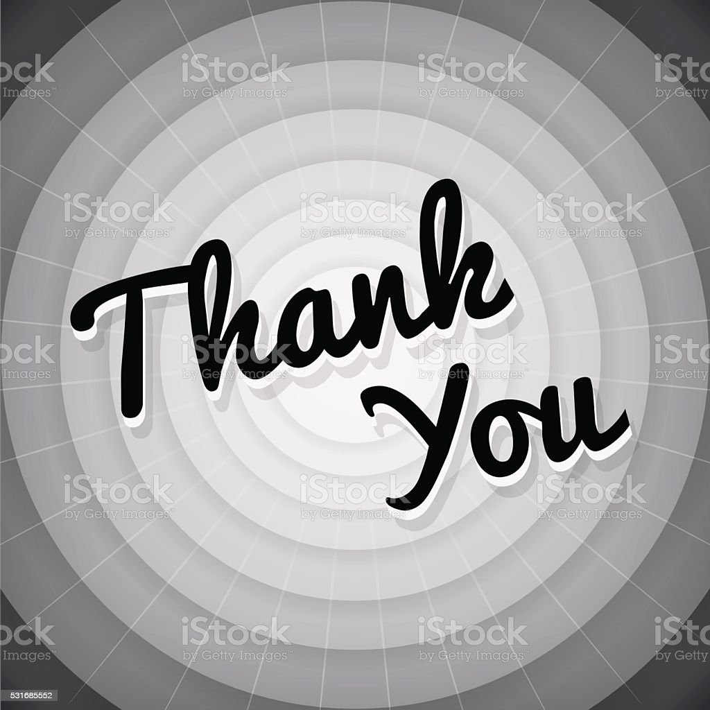 Thank you typography black and white old movie screen vector art illustration
