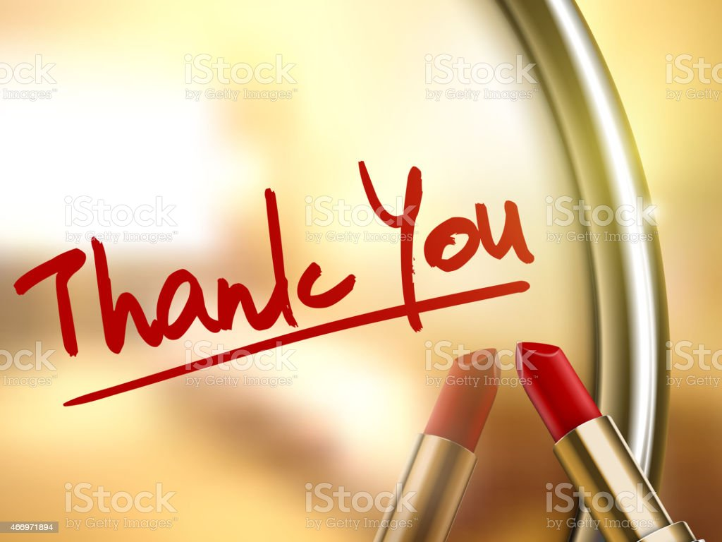 thank you words written by red lipstick vector art illustration